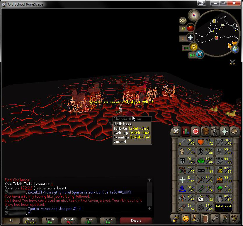 Sparta RS | #1 Fire Cape Service | 1-99 Prayer | No def XP | No bans